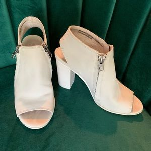 Matisse White Leather Open Toe Bootie